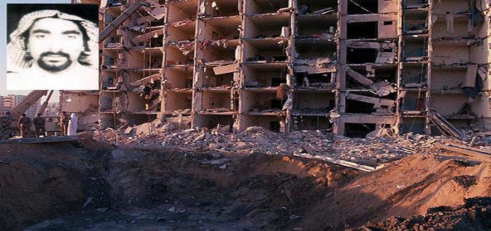 المختطف القيادي في حزب الله الحجاز أحمد المغسل وصورة توضح حجم تفجير أبراج الخبر التي نفدها تنظيم القاعدة