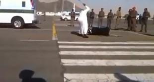 صورة مأخوذة من مقطع يوتيوب لتنفيذ احد الإعدامات في السعودية في 2015