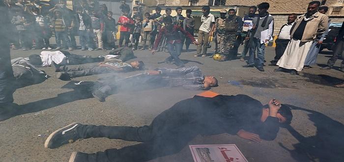 مشهد تمثيلي لمعارضي الحرب في اليمن